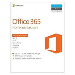 Microsoft Office 365 Home - 5 PC or 5 Mac laptops + 5 Tablets, 1 Year (New or renwal)