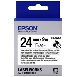 Epson LK-6WBC Black on White Cable Wrap 24mm x9M Labelworks Tape Cartridge